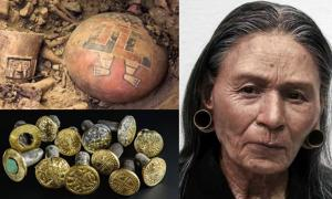 The Huarmey Queen reconstruction and Wari artifacts from her tomb.