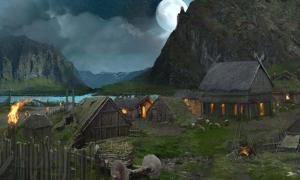 Artist's impression of a Viking camp