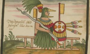 Depiction of Huitzilopochtli in the Tovar Codex.