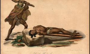 Hawaiian sacrifice, from Jacques Arago's account of Freycinet's travels around the world from 1817 to 1820.