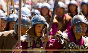 Reenactors of Hunnic Warriors of the Steppe