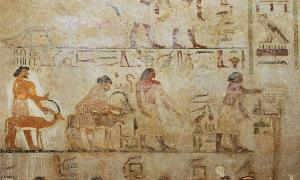 "Painting of foreign delegation found at the tomb of Khnumhotep II. This contains a man described a ""Abisha the Hyksos"", one of the earliest known uses of the term Hyksos. Source: Public domain"