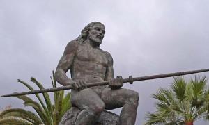 "Statue of ""El Gran Tinerfe"" in Adeje, Tenerife."