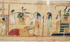 "A scene from the Books of the Dead (based at the Egyptian Museum) shows the ibis-headed god Thoth recording the result of ""the final judgement"". Source: Wasef et al. - PLOS ONE / CC BY-SA 4.0."