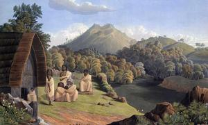 The Toda mund, from Richard Barron, 1837, View in India, chiefly among the Neelgherry Hills