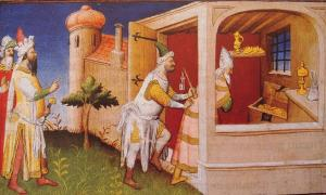 The Mongol ruler Hulagu in Baghdad interns the Caliph of Baghdad among his treasures. Hulagu founded the Ilkhanate.