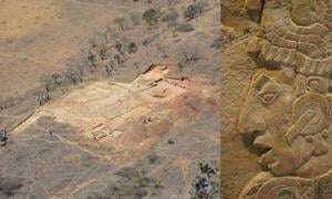 Aerial view of the El Palenque royal palace location. This is the oldest palace uncovered to date in this area of Mexico. Insert: King K'inich Kan Balam II of Palenque, Temple XVII panel. Detail.