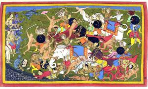 Ancient Indian warfare has so many epic tales of battles throughout the ages, from the Indus Valley to the Chola Empire and conflicts with Alexander the Great. Pictured: depiction of the Battle at Lanka, from the epic Ramayana. Source: Sahibdin / Public domain