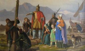 Ingólfr Arnarson, the first settler of Iceland, newly arrived in Reykjavík