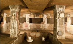 Interior of Etruscan Tomb of the Reliefs, Cerveteri, Italy
