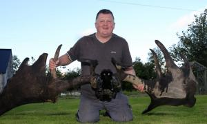 Raymond McElroy with the antlers and skull of an Irish Elk recovered from Lough Neagh