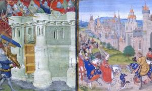 On Left - Isabella directing the Siege of Bristol. On Right - Isabella of France is welcomed to Paris when she returned from England to pay homage to her brother, King Charles IV of France.