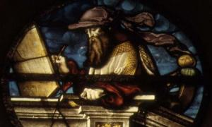 Stained glass representation of the Prophet Isaiah by Valentin Bousch.
