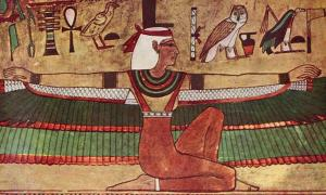 Mural depicting Isis in the tomb of Seti I in the Valley of the Kings (KV17).