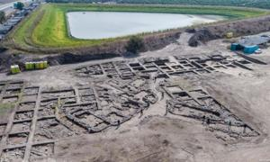 Aerial photograph of the Early Bronze Age excavation site near modern Harish. (Assaf Peretz, Israel Antiquities Authority)  By Ed Whelan
