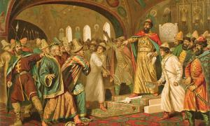 Ivan the Great tearing the khan's letter to pieces.      Source: Aleksey D. Kivshenko / Public domain