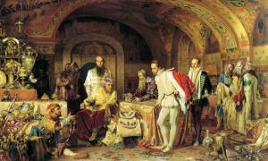 Ivan the Terrible holds court, showing an English ambassador some treasure, in a painting by Alexander Litovchenko.