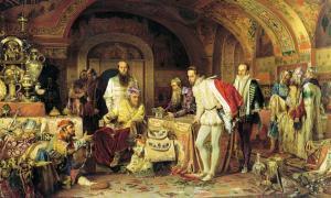 "Ivan IV of Russia (""Ivan the Terrible"") demonstrates his treasures to the ambassador of Queen Elizabeth I of England"