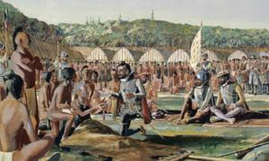 Watercolor, Jacques Cartier visiting Hochelaga, October 1535