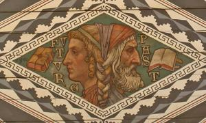 Painted ceiling in Waltham Abbey parish church, depicting Janus facing both past and future.