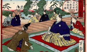 The 9th Tokugawa Japanese shogun visiting a newly built home in Edo.         Source: Kobayashi Toshimitsu / Public domain