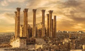 Temple of Artemis in the ancient Roman city of Gerasa at the sunset, preset-day Jerash, Jordan. Source: vesta48 /Adobe Stock