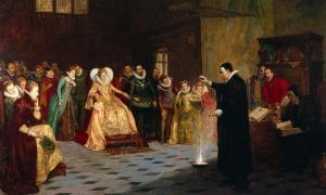 """John Dee Performing an Experiment before Elizabeth I"" (Henry Gillard Glindoni (1852-1913)."