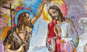 Mosaic of the baptism of Jesus Christ by Saint John the Baptist in Medjugorje, Bosnia and Herzegovina, 2016. Source: Adam Ján Figeľ / Adobe stock