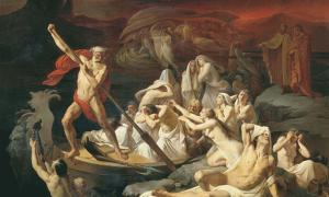 "Alexander Dmitrievich Litovchenko (1835 - 1890) ""Charon carries souls across the river Styx."""