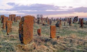 Khachkars of Noratus, old cemetery. The oldest khachkars (Armenian cross-stones) are of 9-10th centuries, but the most of them are from 13-17th centuries.