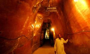 Smoothed chambers and tunnels through salt run deep into the vast Khewra Salt Mines.