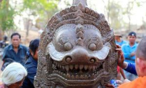 Lion statue unearthed from reservoir in Cambodia.    Source: Department of Protection and Conservation of Ancient Constructions