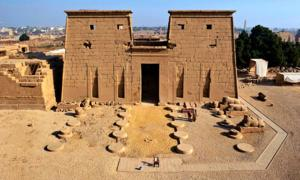 The south facing entrance of Khonsu Temple, located in the Karnak Temple Complex on Luxor's East Bank. Source: ARCE / Fair Use.