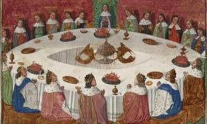 King Arthur and His Knights Of The Round Table see a vision of the Holy Grail.