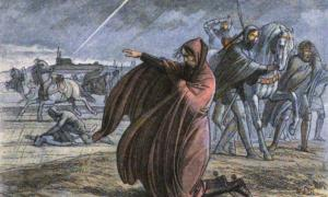 King Edward III implores the forgiveness of God while facing the storm of 1360 with his army in the fields of Sours