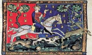King John on a stag hunt. (1300-1400)