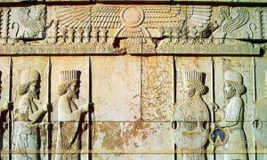 Apadana Hall, fifth-century BC carving of Persian archers and Median soldiers in traditional costume (Medians are wearing rounded hats and boots)