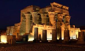 Temple of Kom Ombo at dusk.