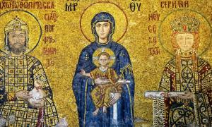 Komnenian Dynasty mosaic in the Hagia Sofia, Istanbul, Turkey. The Virgin Mary and baby Jesus are flanked by John II Komnenos and his wife, Irene of Hungary.
