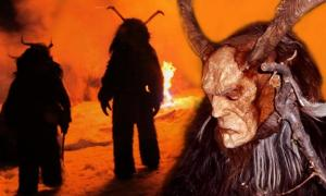 Deriv; Revelers dressed as Krampusin Austria