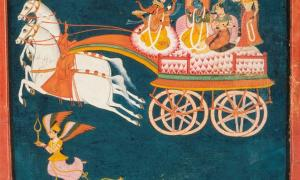 Krishna and Rukmini as Groom and Bride in a Celestial Chariot