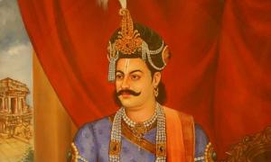 Detail of a painting representing Krishnadevaraya.
