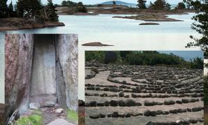 Main: The Island of Blå Jungfrun (Flickr). Inset: stone labyrinth (CC BY 3.0) and Stone Age fireplace