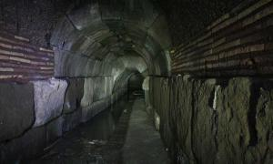 Inside one of the tunnels under Rome, Italy.