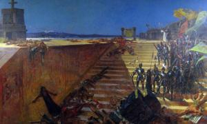 """""""The Last Days of Tenochtitlan, Conquest of Mexico by Cortez"""", a 19th-century painting by William de Leftwich Dodge."""