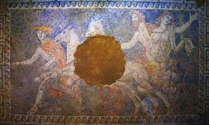 The mosaic of the third chamber of the Amphipolis tomb, representing the Abduction of Persephone by Pluto.