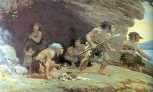 Le Moustier Neanderthals, AMNH By Charles Knight.
