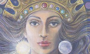 Detail of a modern depiction of the goddess Ishtar.