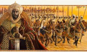 An artist's depiction Sunni Ali Ber, African warrior king of the Songhai empire.