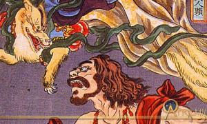Detail; Prince Hanzoku terrorized by a nine-tailed fox